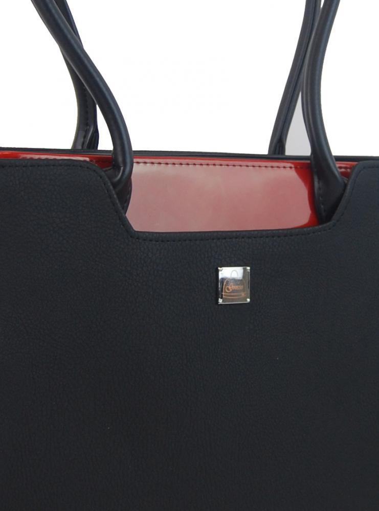 Černá elegantní kabelka přes rameno s karmínovými doplňky S551 GROSSO
