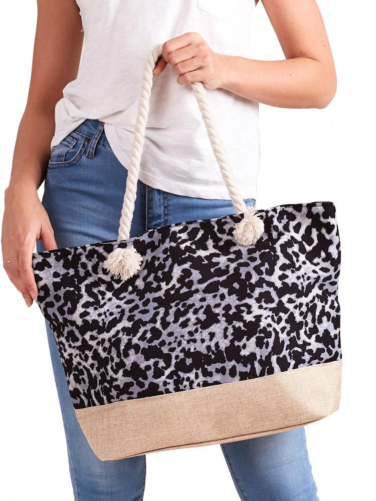 CAVALDI Plážová taška šedá s motivem leoparda
