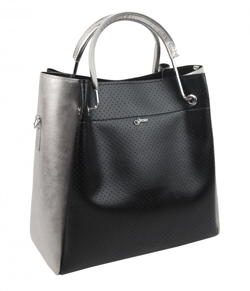 GROSSO Dámská moderní kabelka do ruky černo-stříbrná S728
