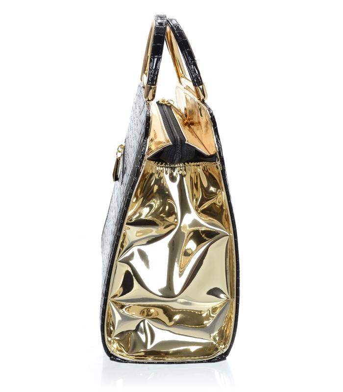 Luxusní černo-zlatá lakovaná kroko kabelka do ruky S81 GROSSO