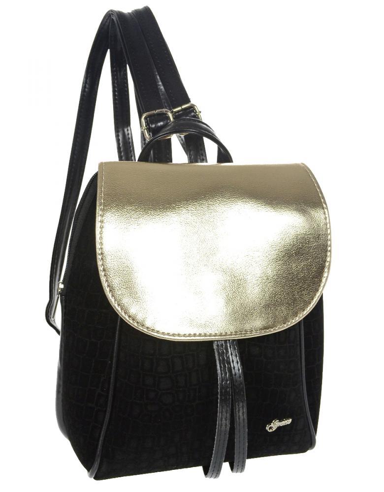 Elegantný dámsky čierno-zlatý batoh B03 GROSSO