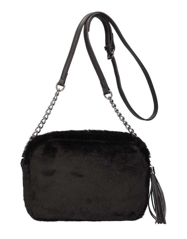 Chlupatá dámská crossbody kabelka LT855 černá