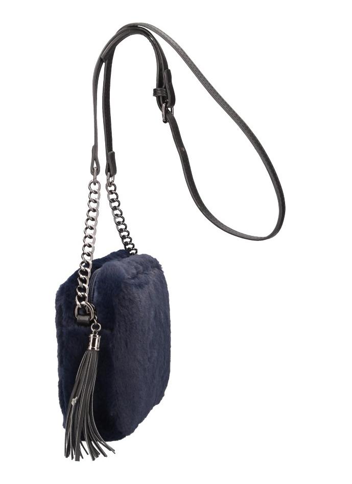 Chlpatá dámska crossbody kabelka LT855 modrá