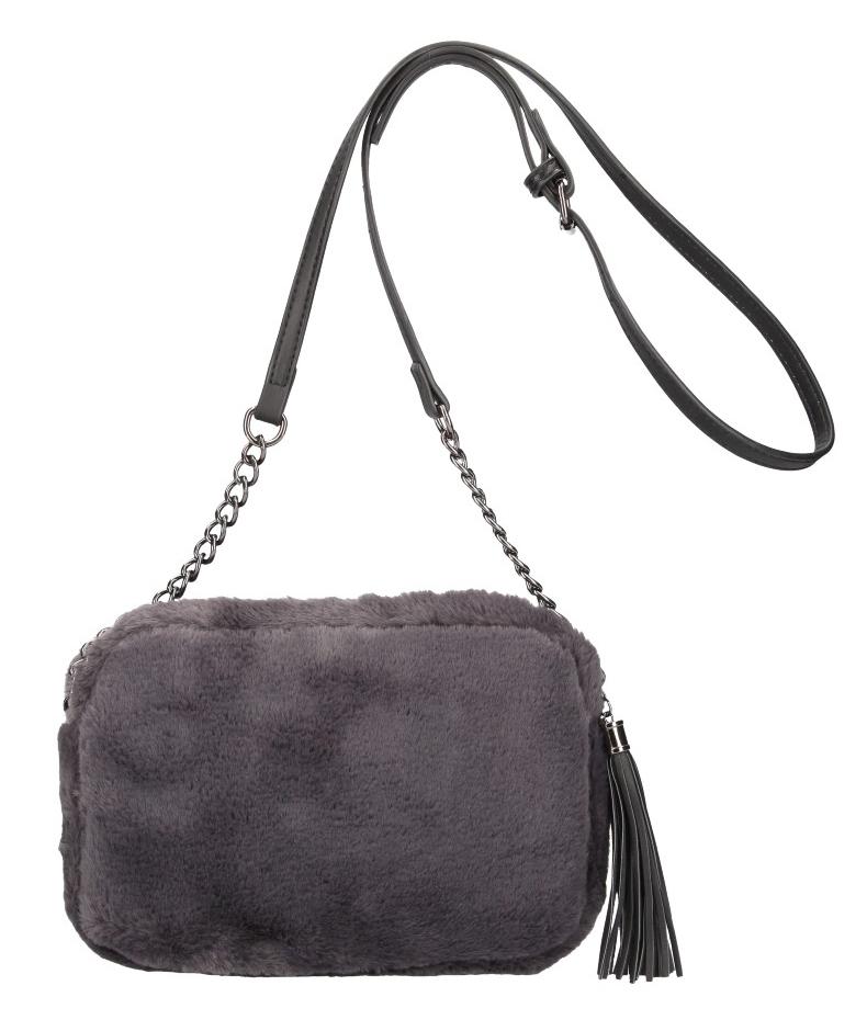 Chlupatá dámská crossbody kabelka LT855 tmavě šedá