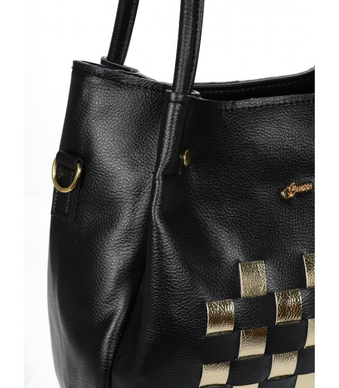 Moderní kabelka do ruky i na rameno černá se zlatými doplňky S778 GROSSO