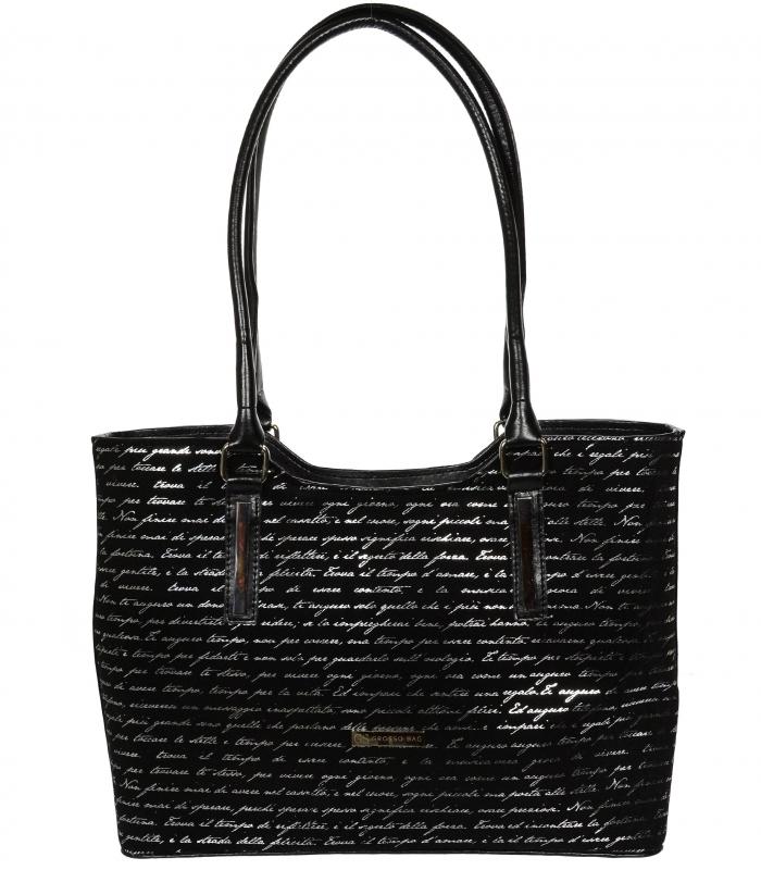 GROSSO Černá dámská kabelka se stříbrným písmem