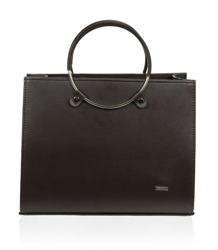 Čokoládově hnědá matná moderní elegantní dámská kabelka S730 GROSSO