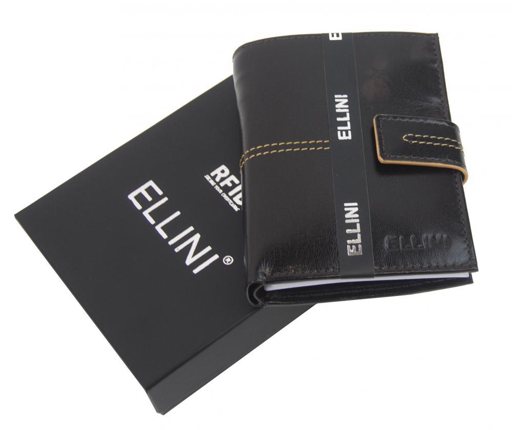 Ellina čokoládovo hnedá pánska RFID luxusná kožená peňaženka v darčekovej krabičke