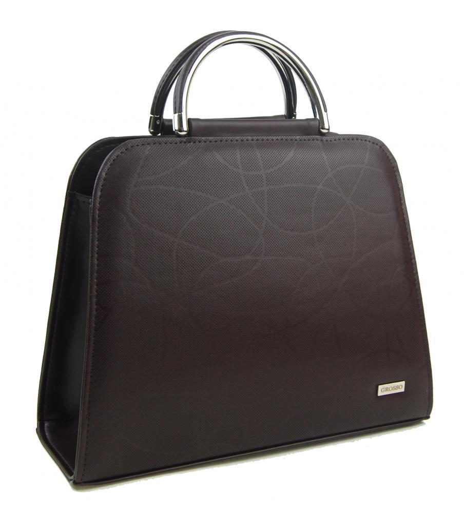 Luxusní čokoládově hnědá dámská kabelka s vlnkou S81 GROSSO