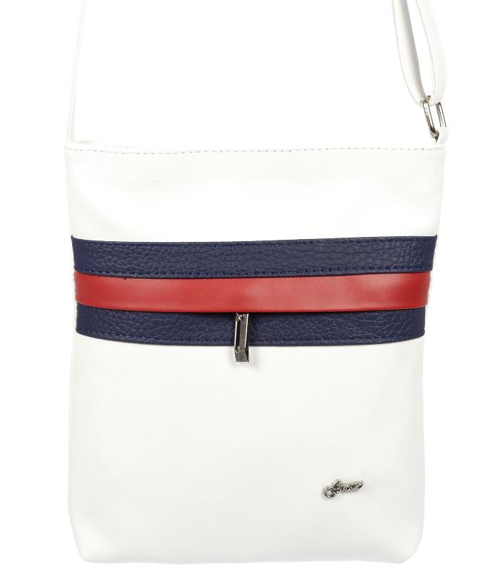 Bílá crossbody kabelka s modro-červeným pruhem M189 GROSSO