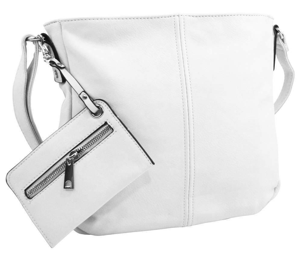 Bílá dámská středně velká crossbody kabelka 1911-BB