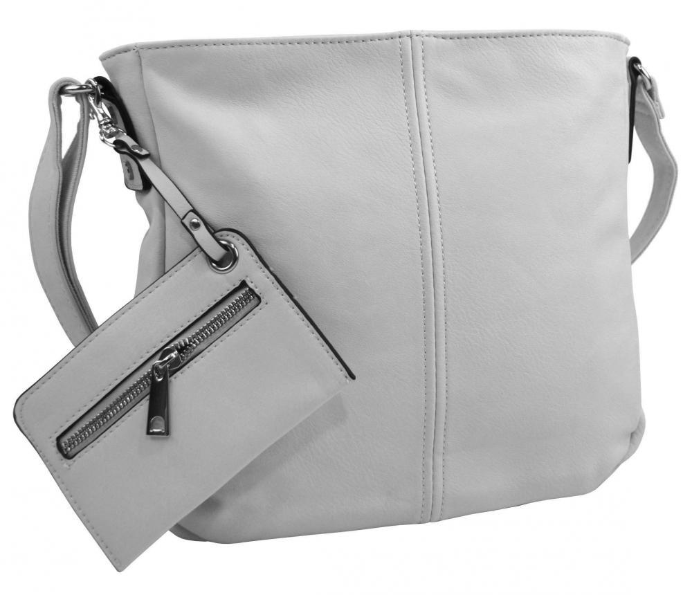 Světle šedá dámská středně velká crossbody kabelka 1911-BB
