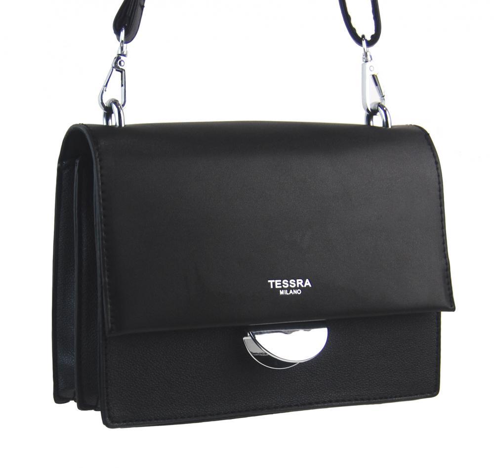 Černá menší crossbody dámská kabelka s klopou 4995-TS