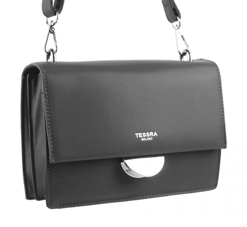 Tmavě šedá menší crossbody dámská kabelka s klopou 4995-TS