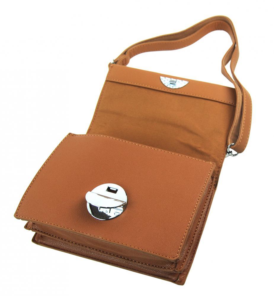 Hnědá menší crossbody dámská kabelka s klopou 4995-TS