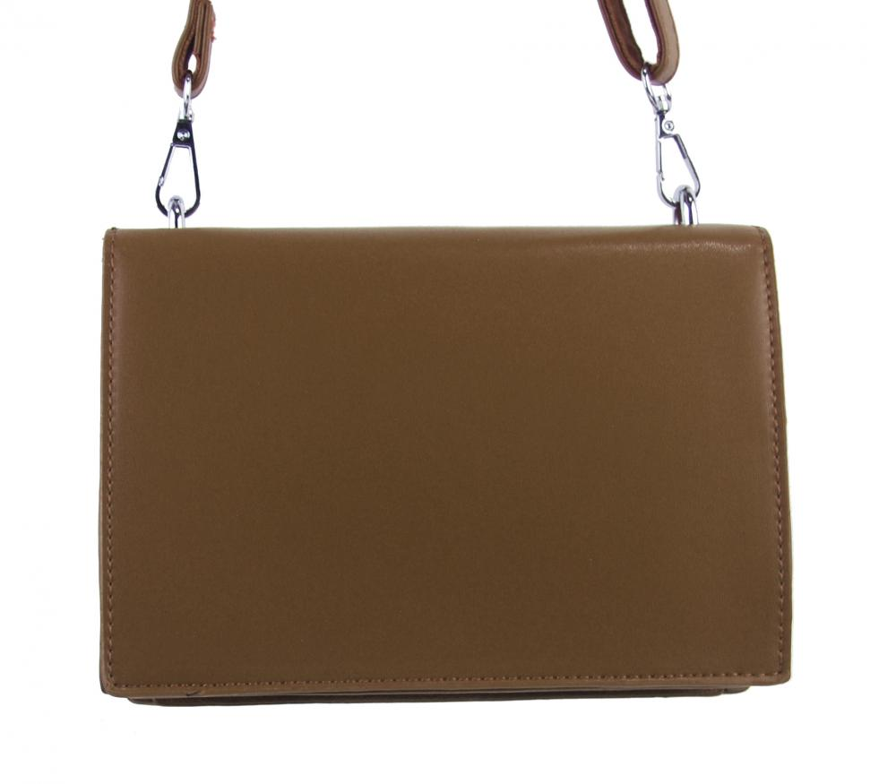 Tmavo hnedá menšia crossbody dámska kabelka s chlopňou 4995-TS