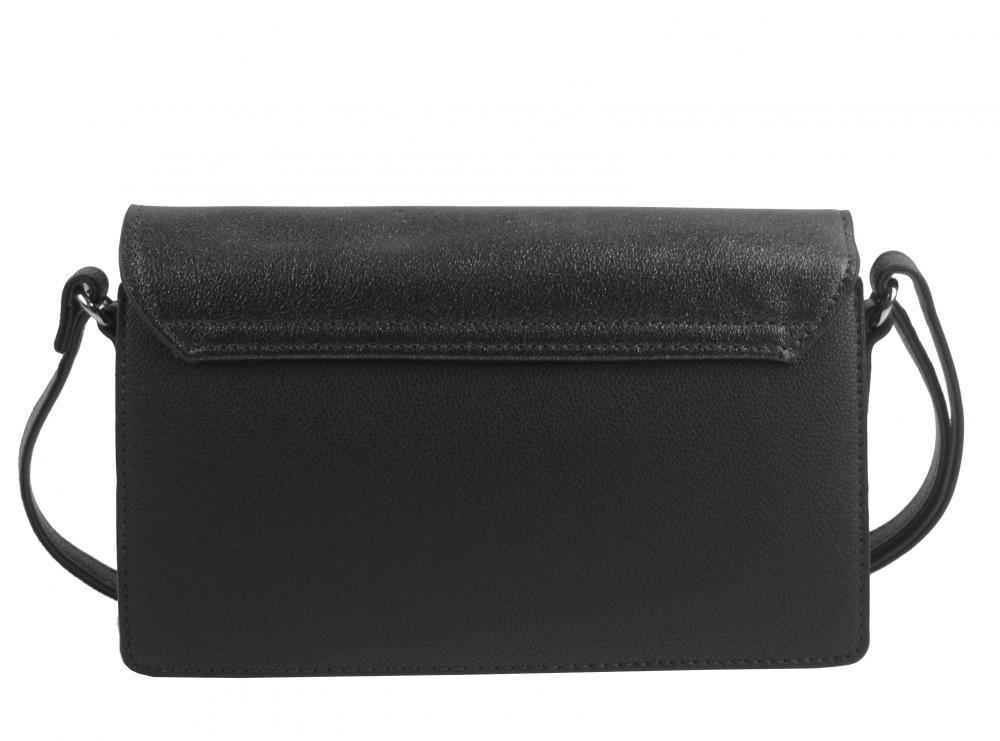 Čierna pozdĺžna crossbody dámska kabelka s tromi oddielmi 4997-BB