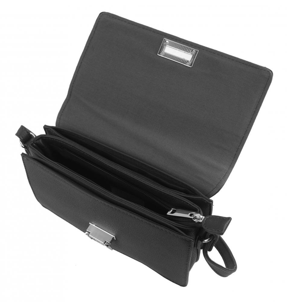 Černá podélná crossbody dámská kabelka se třemi oddíly 4997-BB