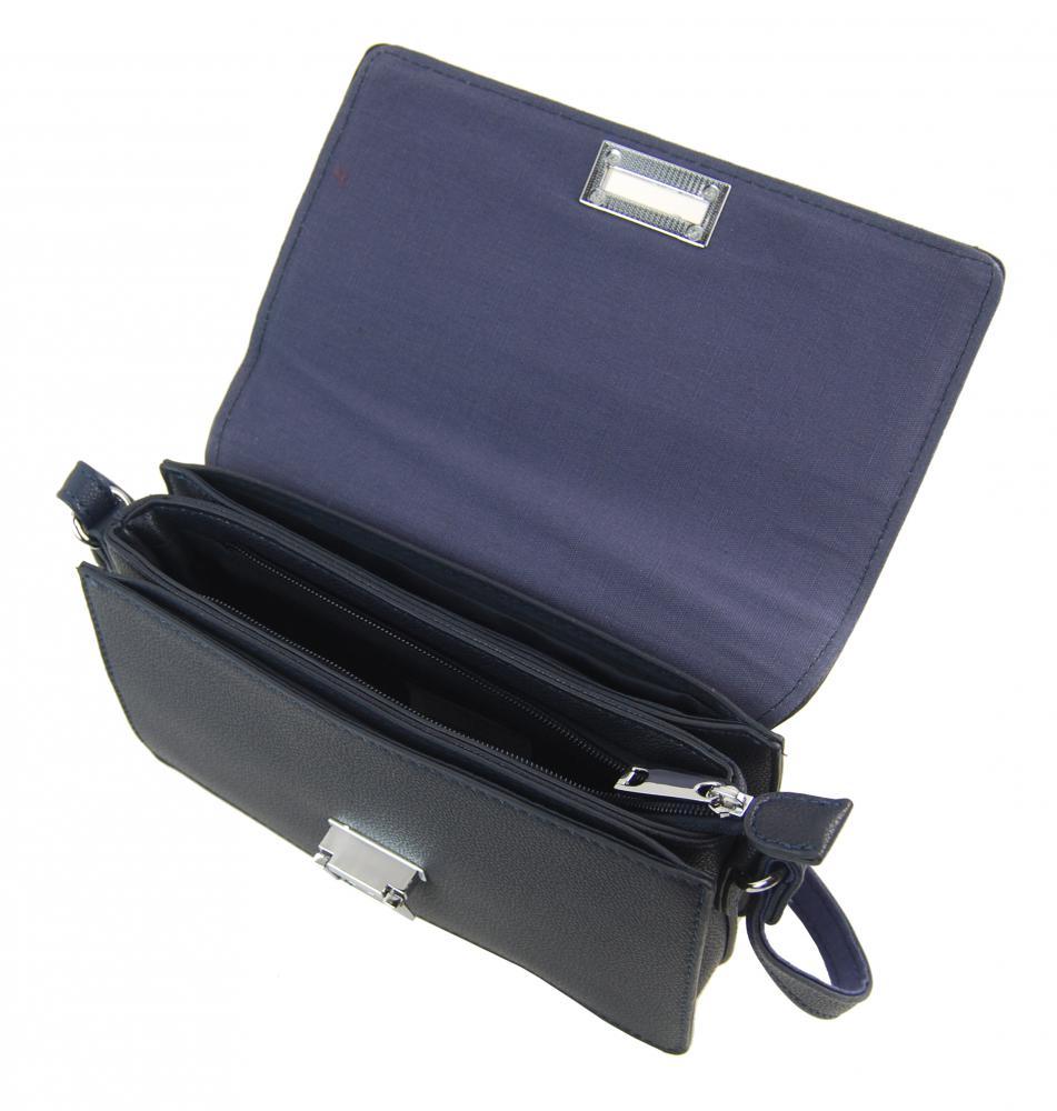 Tmavo modrá pozdĺžna crossbody dámska kabelka s tromi oddielmi 4997-BB