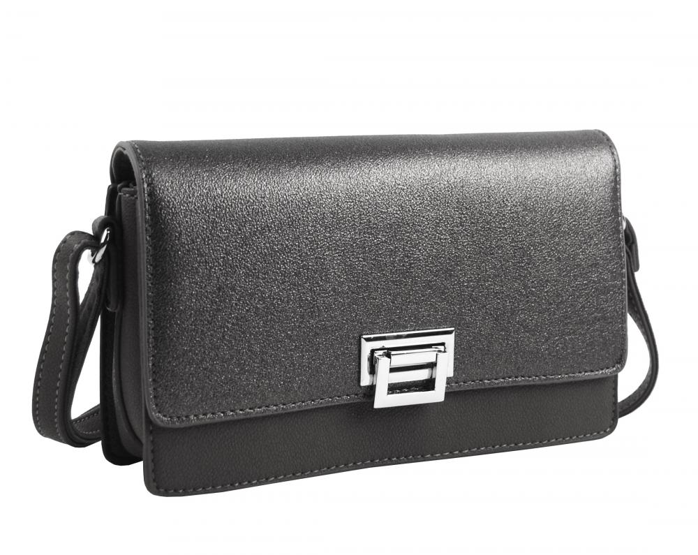 Sivá pozdĺžna crossbody dámska kabelka s tromi oddielmi 4997-BB