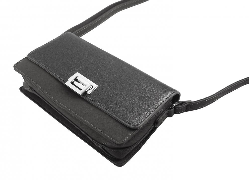 Šedá podélná crossbody dámská kabelka se třemi oddíly 4997-BB