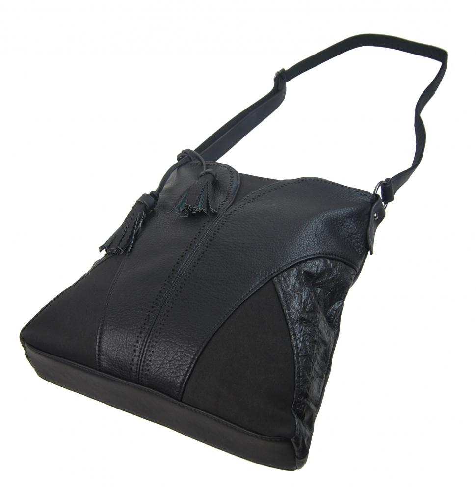 Moderná väčšia čierna crossbody dámska kabelka 5100-BB