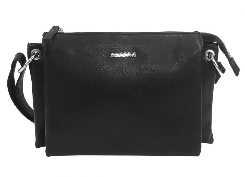 Černá menší crossbody dámská kabelka se třemi oddíly 5204-TS