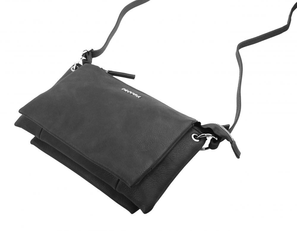 Tmavě šedá menší crossbody dámská kabelka se třemi oddíly 5204-TS