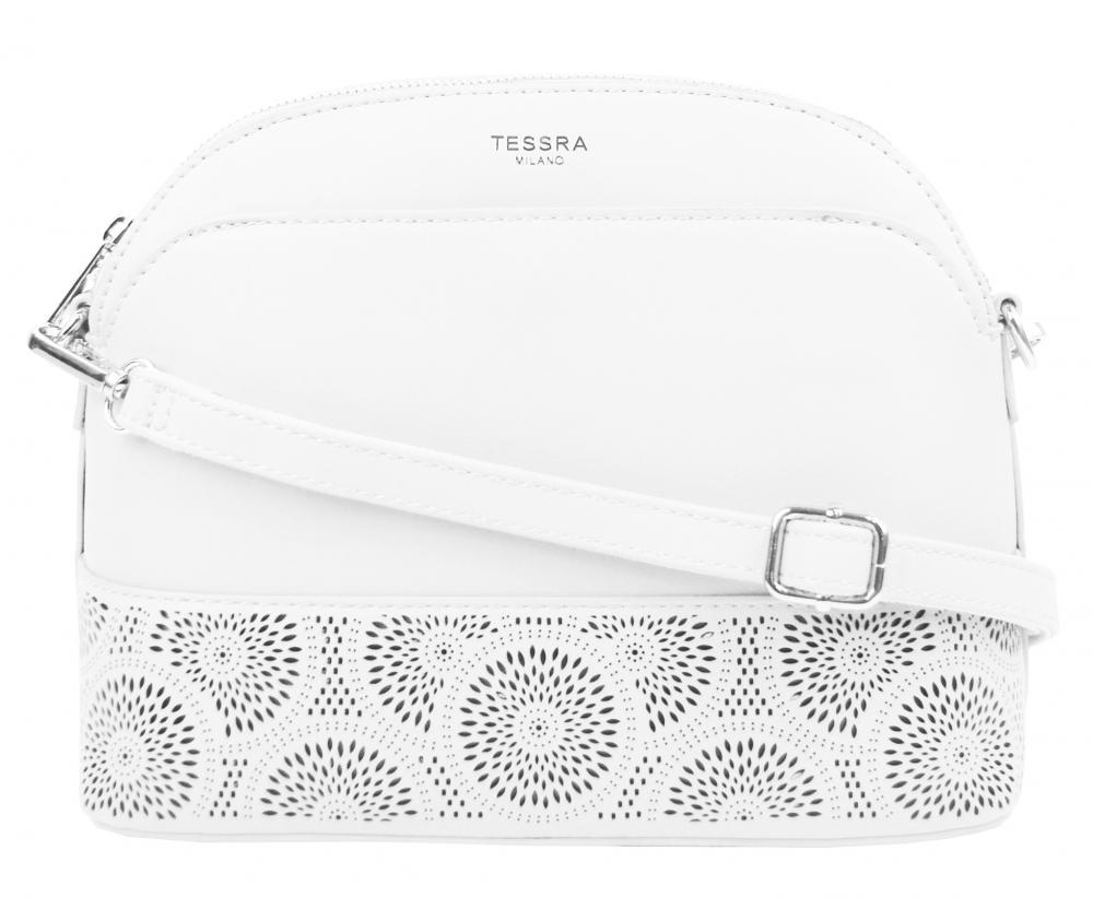Biela crossbody dámska kabelka s čelnou priehradkou TESSRA