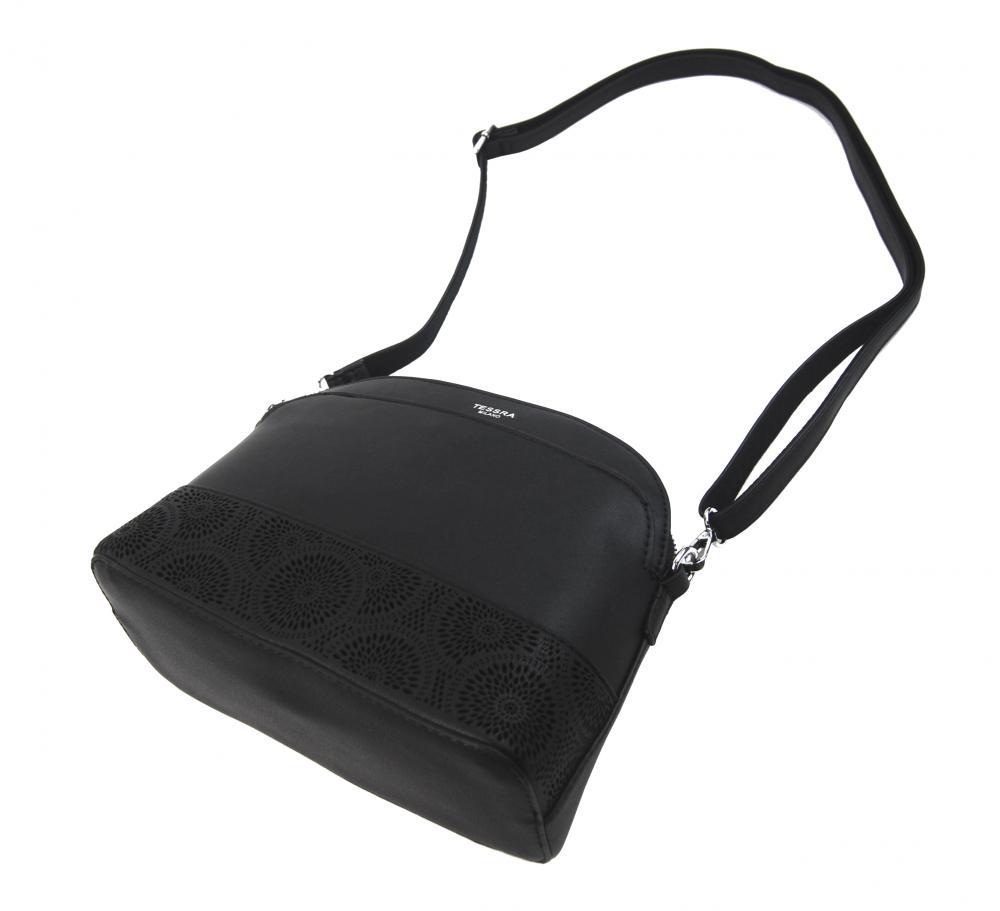 Černá crossbody dámská kabelka s čelní kapsou TESSRA