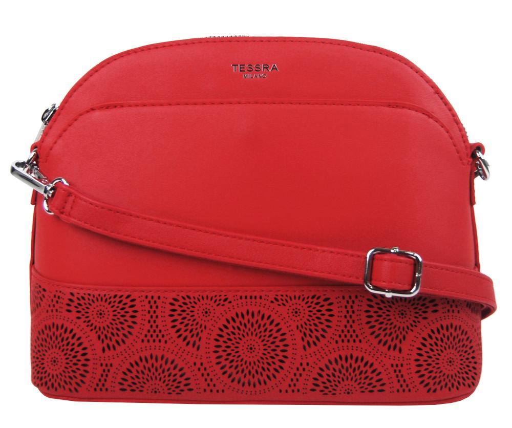 Červená crossbody dámská kabelka s čelní kapsou TESSRA