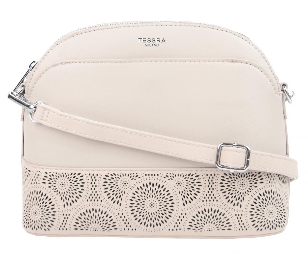 Krémová crossbody dámská kabelka s čelní kapsou TESSRA