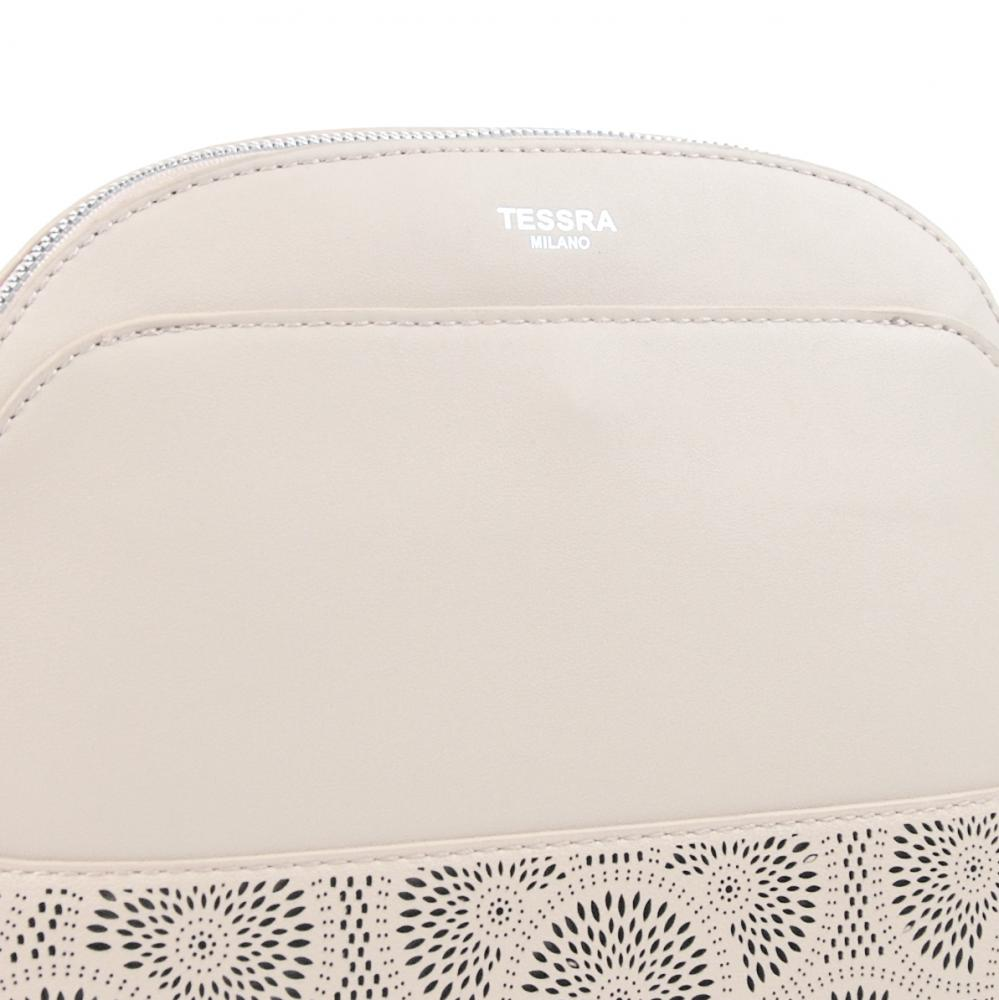 Krémová crossbody dámska kabelka s čelnou priehradkou TESSRA