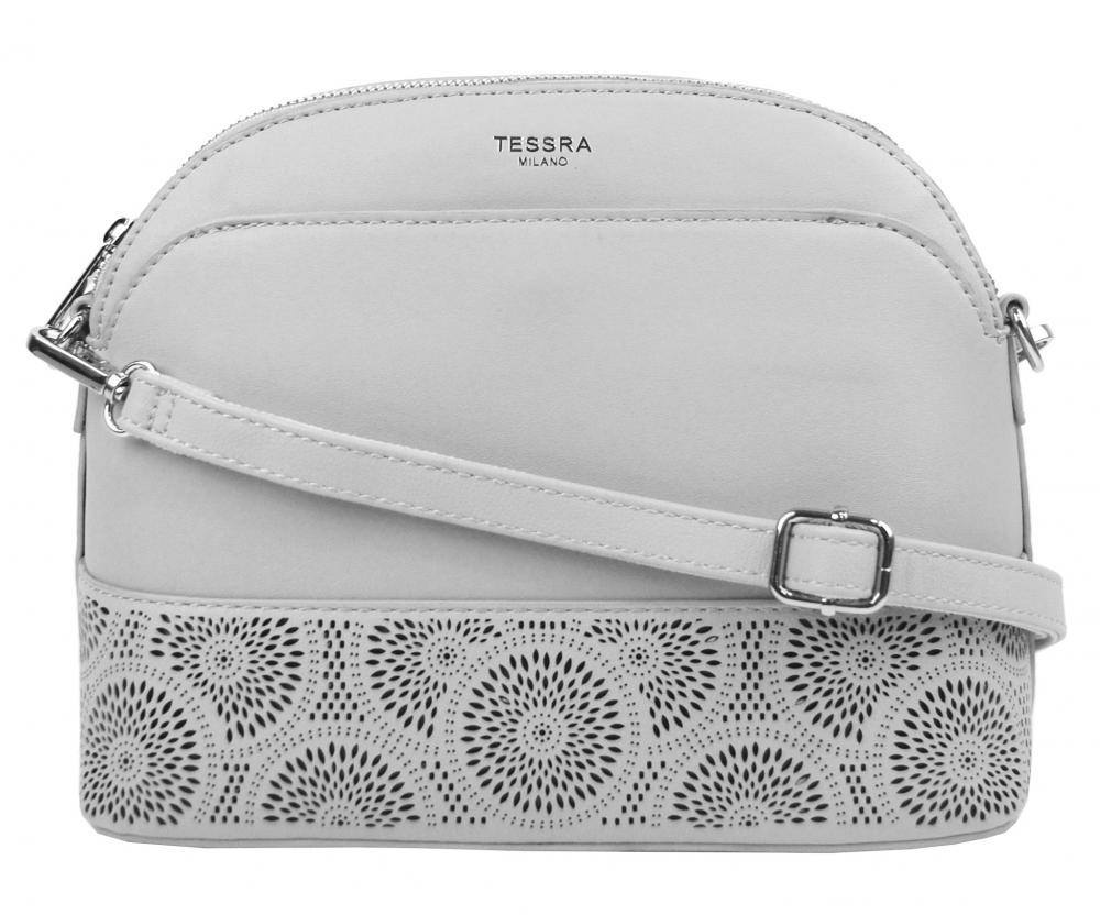 Světle šedá crossbody dámská kabelka s čelní kapsou TESSRA