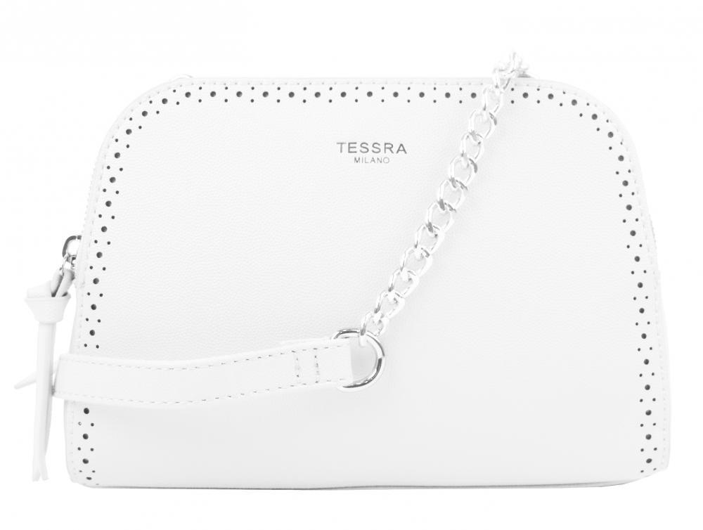 Biela crossbody dámska kabelka s dvoma oddielmi TESSRA