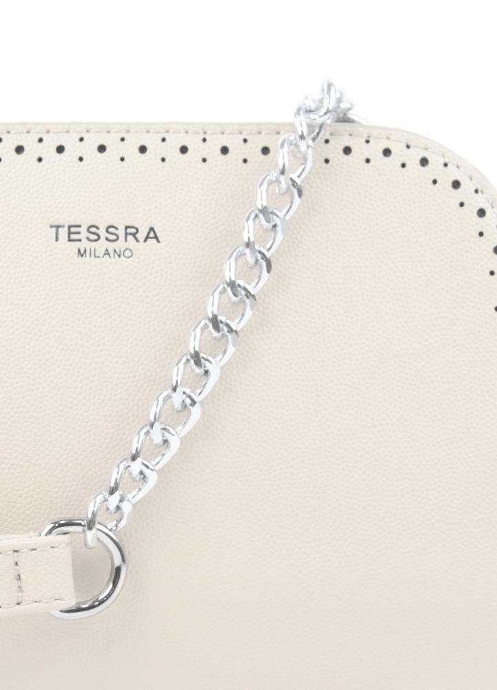Krémová crossbody dámska kabelka s dvoma oddielmi TESSRA
