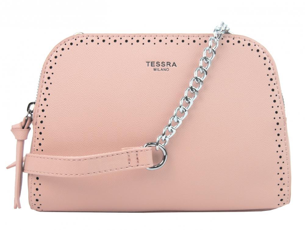Růžová crossbody dámská kabelka se dvěma oddíly TESSRA