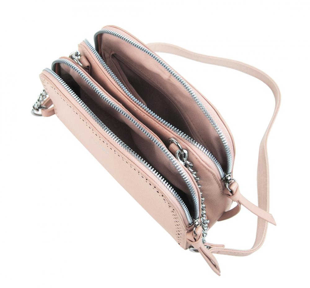 Ružová crossbody dámska kabelka s dvoma oddielmi TESSRA