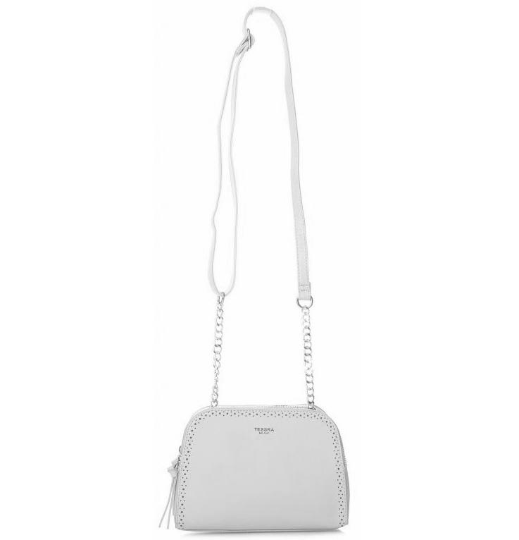 Svetlo sivá crossbody dámska kabelka s dvoma oddielmi TESSRA