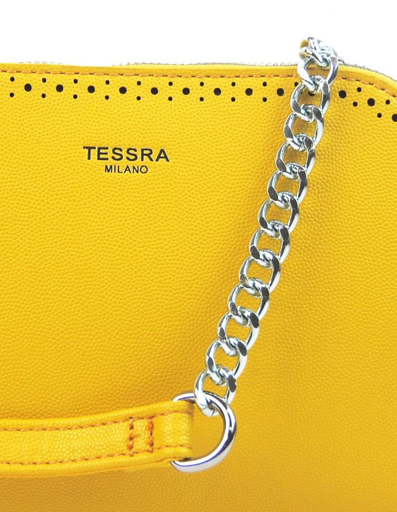 Žltá crossbody dámska kabelka s dvoma oddielmi TESSRA