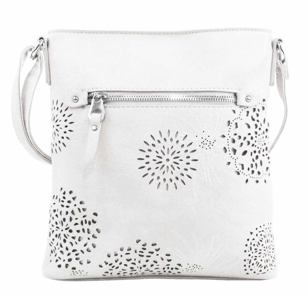Crossbody dámská kabelka v květovaném designu bílá 5432-BB