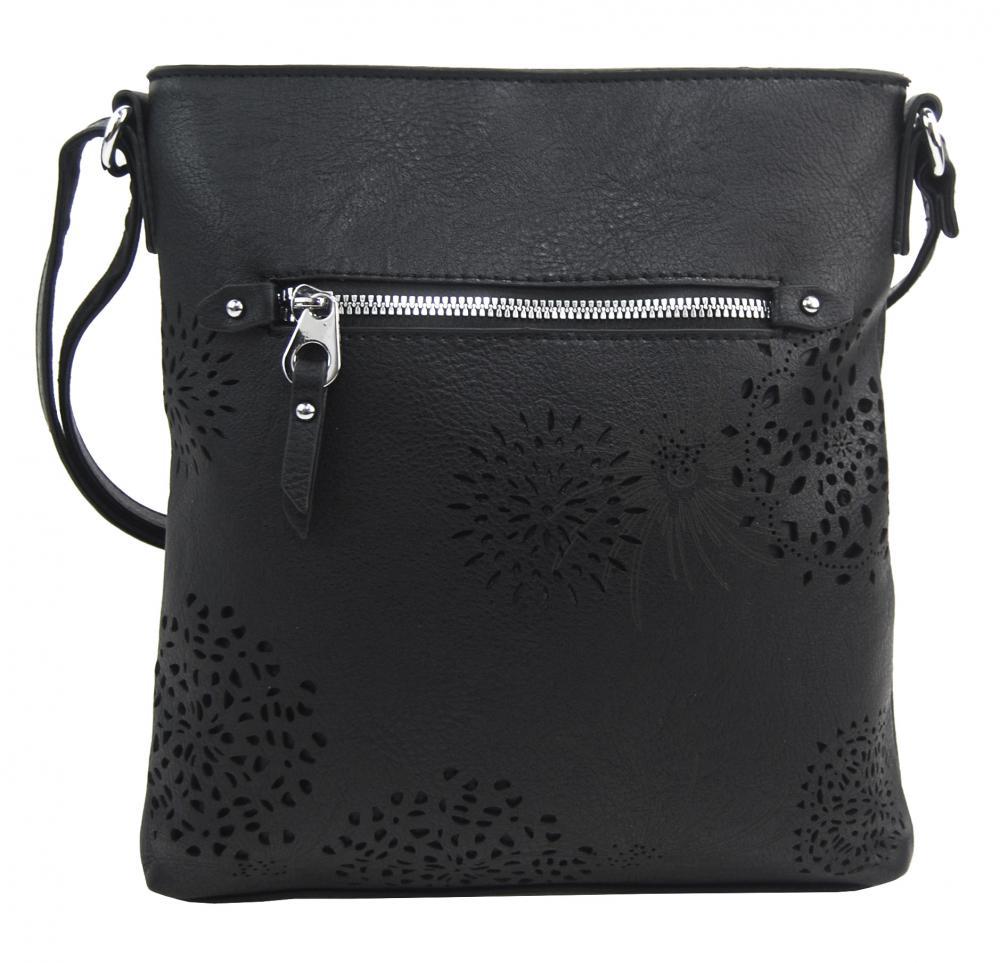 Crossbody dámska kabelka v kvetovanom dizajne čierna 5432-BB