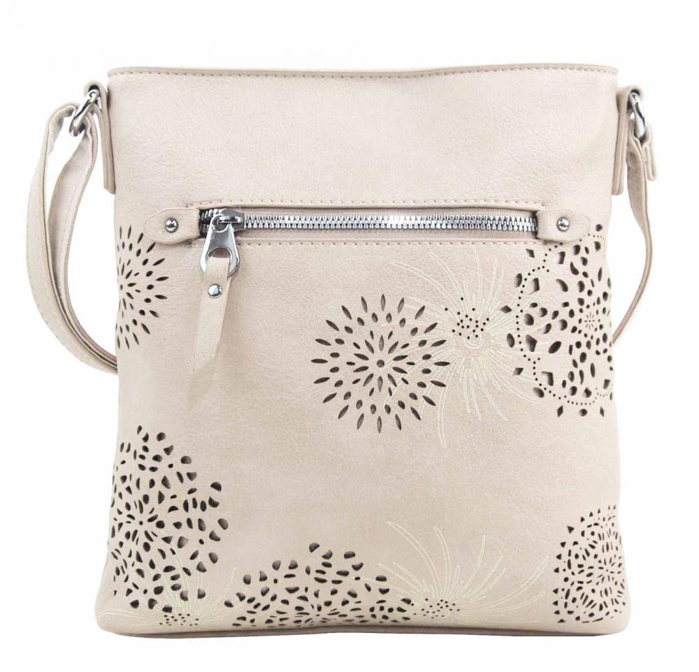 Crossbody dámská kabelka v květovaném designu krémová 5432-BB