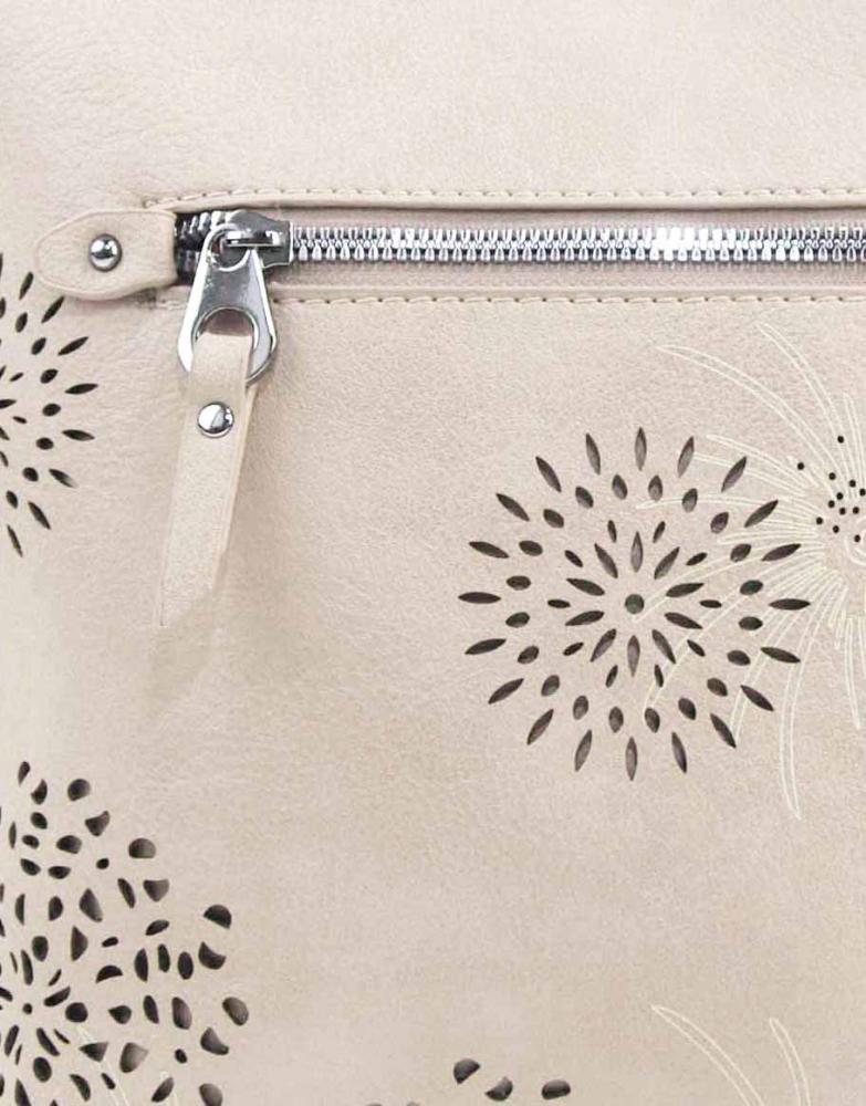 Crossbody dámska kabelka v kvetovanom dizajne krémová 5432-BB