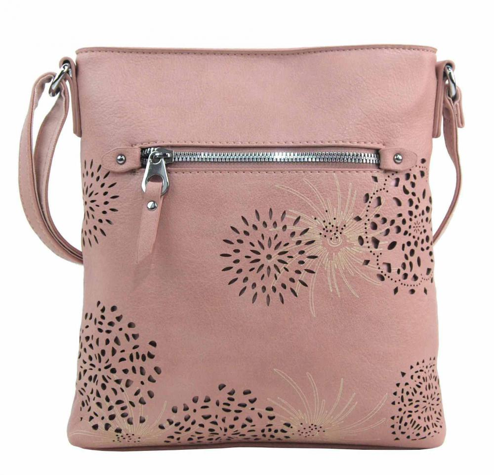 Crossbody dámská kabelka v květovaném designu růžová 5432-BB
