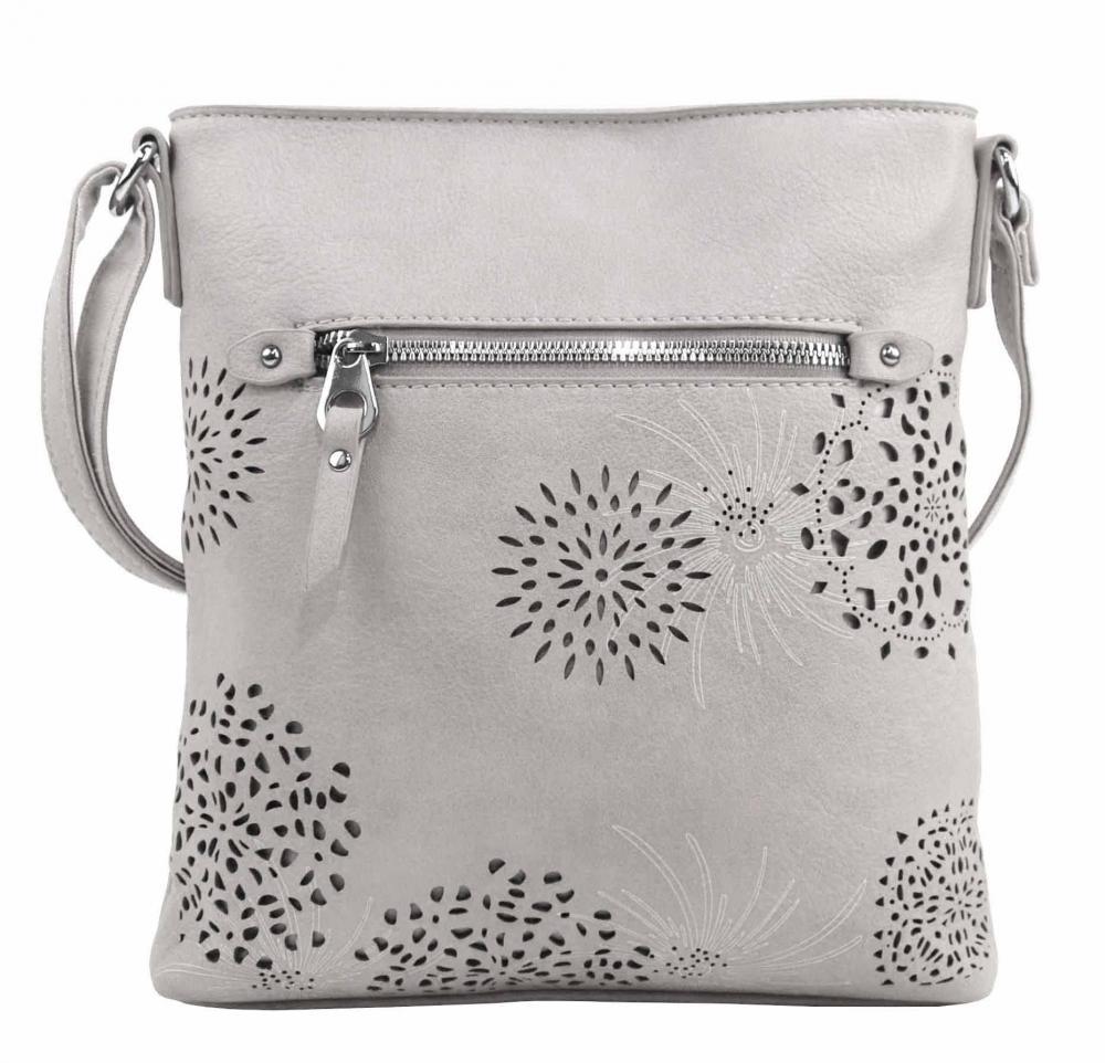 Crossbody dámská kabelka v květovaném designu světle šedá 5432-BB
