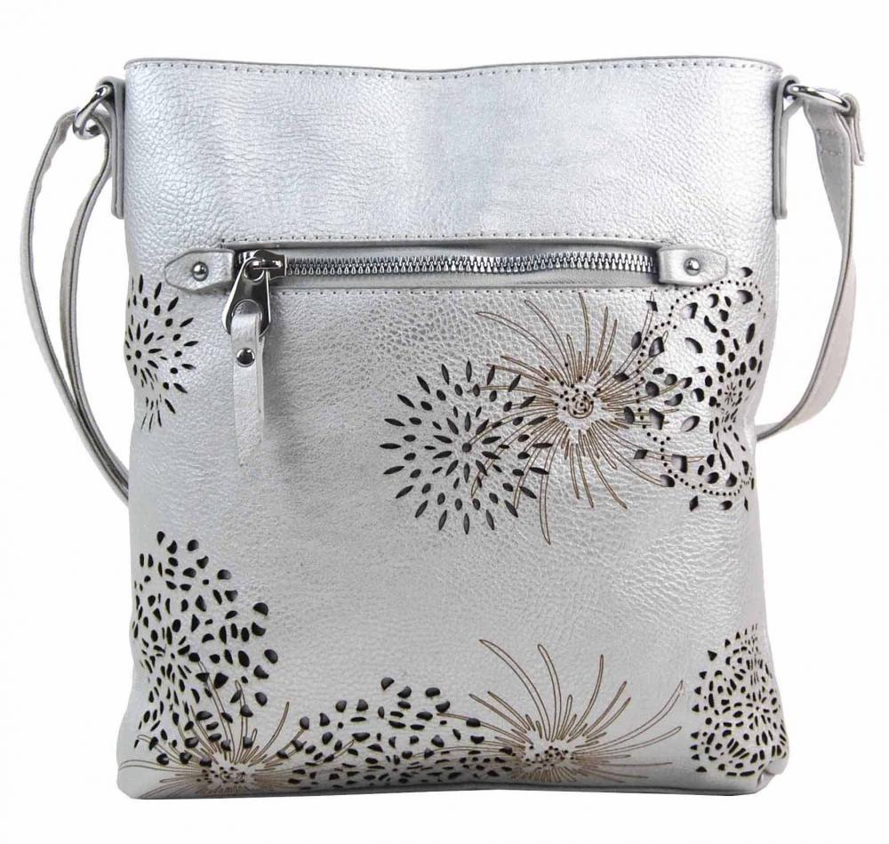 Crossbody dámská kabelka v květovaném designu stříbrná 5432-BB