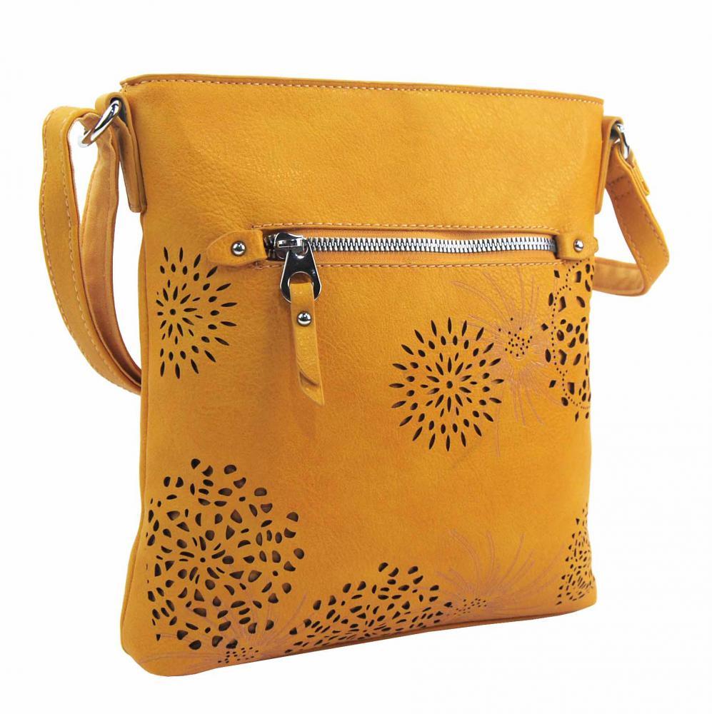 Crossbody dámska kabelka v kvetovanom dizajne žltá 5432-BB