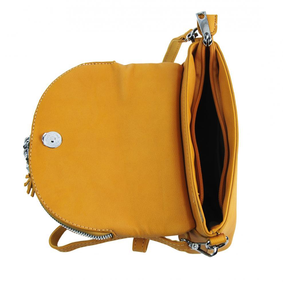 Hořčicová žlutá menší crossbody dámská kabelka 5451-TS