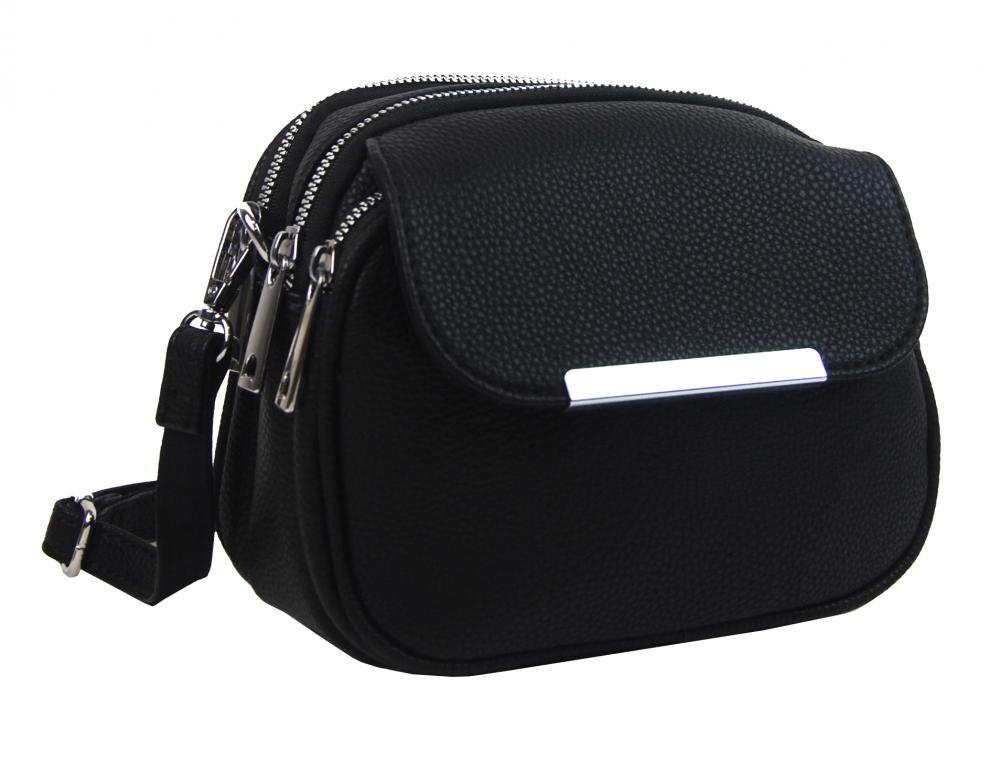 Menšia crossbody dámska kabelka s tromi komorami 5485-BB čierna